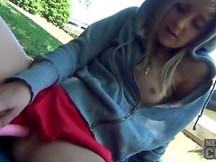 Hottie in hoodie masturbates in the park