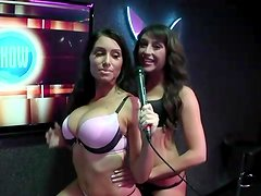 Babes in bras and panties play game on radio show