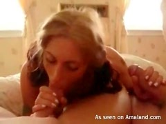Sexy pigtails girl sucks two dicks in homemade clip