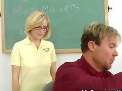 Cute crazy blonde schoogirl sucks her