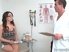 Horny doctor blown by naughty patient in office