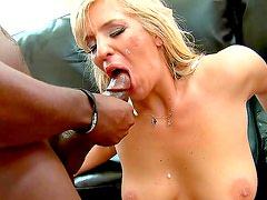 Amazing blonde in sexy interracial