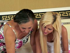 Lewd granny Kata plays dirty lesbian games with blonde milf Summer