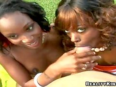 Adorable black babes with natural boobs teases Sergio with firm