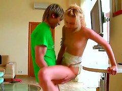 Skinny teen blonde Vika has fragile-looking shaved pussy that gets drilled by her new young