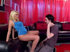 Katie Summers is taking care of her new slave guy Deviant Kade and she is making him worship