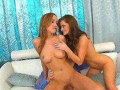 Marvelous brunette babes Lily Carter and gorgeous Victoria Rae Black are pleasing