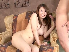 Pale a bit plump nympho Yui Hatano wins a hot lollicock for a blowjob