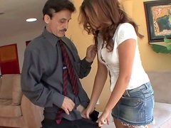 Allie Haze checks pants of one ugly old dude