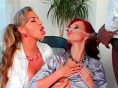 Interracial threesome orgy with two delicious skanks