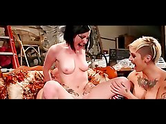 Two Hot-Ass Tattooed Chicks Suck Dick & Get Fucked by Dude