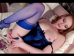 Gorgeous Redhead Teen Fingers Her Pink Pussy With Lingerie On