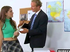 Petite brunette schoolgirl gives head after class