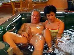 Short haired brunette Monica gets her twat drilled doggy in jacuzzi