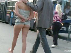 Public Humiliation Couple Goes For The Walk Of Shame!