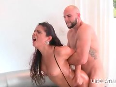 Round butt latina pussy fucked doggy on the couch