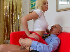 Juicy blonde tramp Scarlet Lovatt gives head and rides her man on top