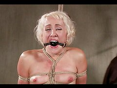 Blonde Gets Tied Up With Ropes & Gagged