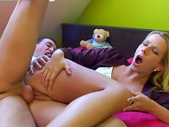 Delicious blonde slut gets her sweet pussy brutally fucked