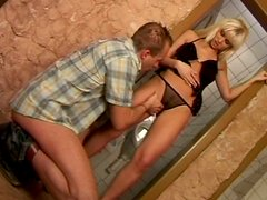 Rapacious blond milf Cindy Dollar welcomes tongue fuck from young dude
