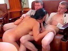 Three guys are having fun with Asian chick