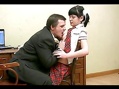 Student with pigtails & skirt fucks her dirty old teacher