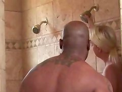 Housewife masssages her man after work