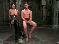 Dominant Shy Love Masks and Ties a Guy for a Hardcore Fucking in BDSM
