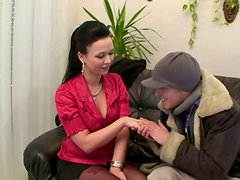 Spoiled buxom clerk desires to seduce a hobo for a casual hot sex in the office