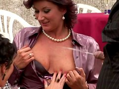 Two spoiled whores welcome hand job from rapacious brunette