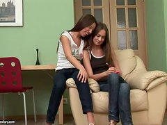Lusty teens Anne and Sweet Lana are having orgasm