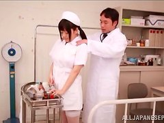 Ai Hoshimiya the busty nurse rides a cock and gets a mouthful