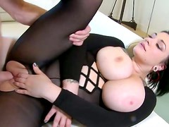 Buxom trollop Scarlet is banged brutally in a missionary position