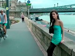 Naughty brunette from Russia has real public sex adventures