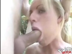 Blue eyed girl with fake tits gets a facefuck