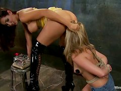 Juicy blond angel gets belted and wired in her muff