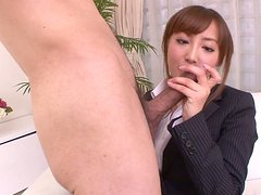 Pale skinned Mami Asakura is riding small cock