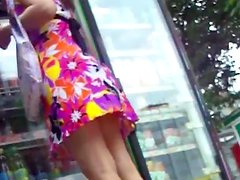 Cute babe being upskirted on the hidden cam