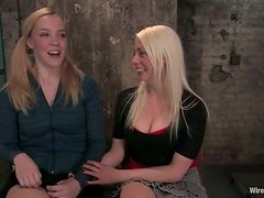 Two blonde chicks get bounded and humiliated by a brunette