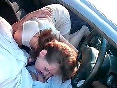 Cuddly red-haired Russian amateur oral fucks strain dick in the car