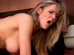 Tall slim and appetizing blondie Jane Darling sucks a stiff dick passionately