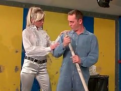Janitor blown by hottie in satin blouse