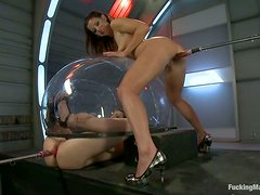 Casey Calvert and Mia Gold make lesbian love and use a fucking machine