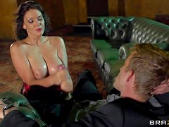 Arousing dark haired milf Emma Leigh with stunning natural knockers