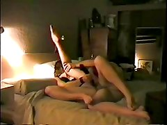 Girl likes to dp with cock in her ass and dong in her pussy