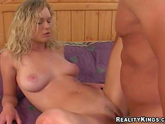 Young blonde babe Irene with natural perky boobs and slim