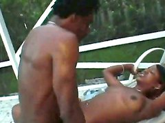 Black bitch with big bouncing ass gets her shaved minge drilled deep by her randy bull