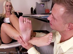 Emily Austin gives a footjob and gets fucked in cowgirl position