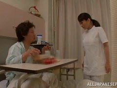 Hot Japanese nurse rides a patient's cock in a hospital ward