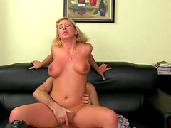 Slender blonde is riding on the big hard dick